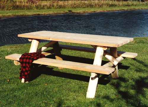 6 picnic table wattached benches lakeland mills picnic table wattached benches watchthetrailerfo