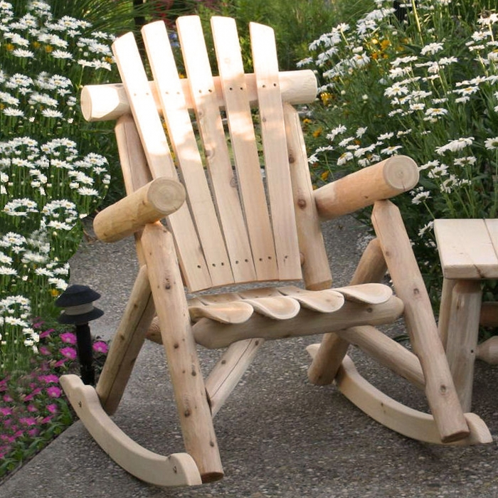 Relax outside with Cedar Log Rocking Chair