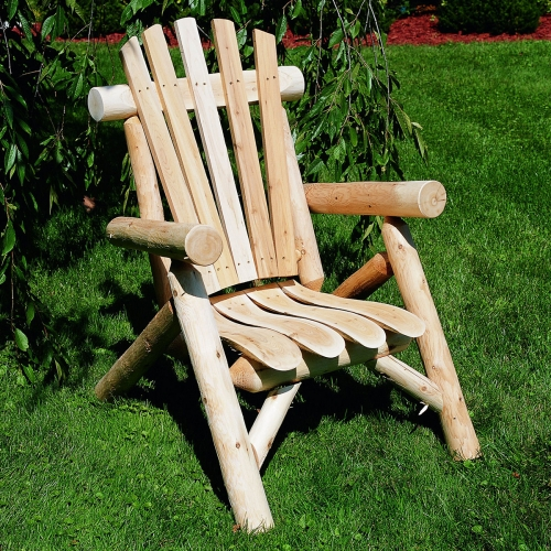 Take a rest in the yard with Cedar Log Lounge Chair