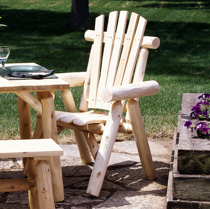 Pull up a seat at the table with cedar log dining chair