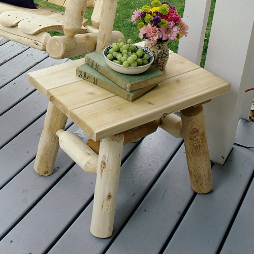 Display books or drinks with our outside cedar log end table