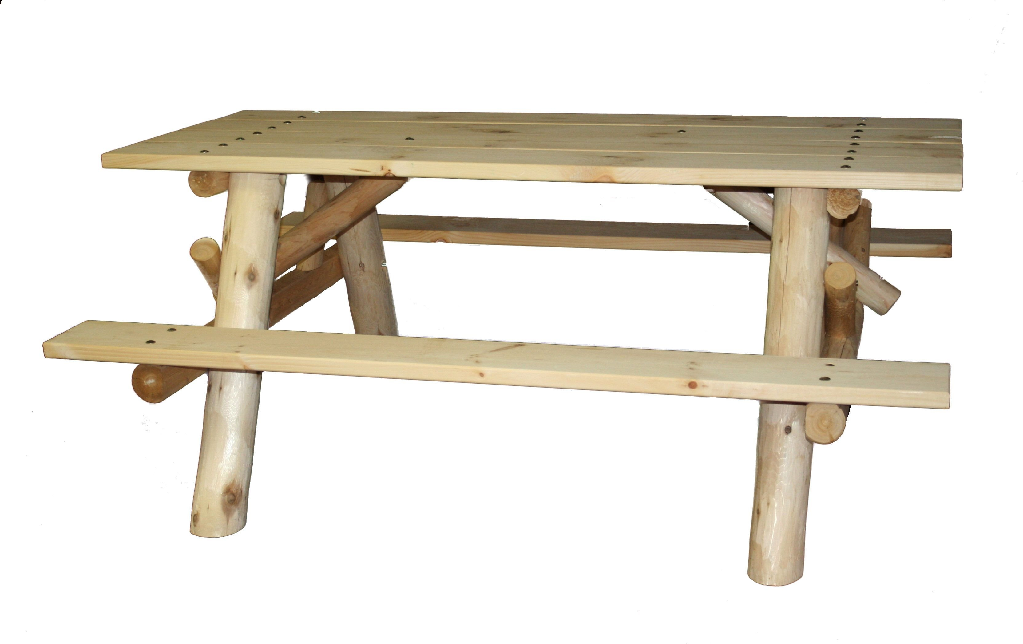 Stupendous 6 Log Picnic Table W Attached Benches Ibusinesslaw Wood Chair Design Ideas Ibusinesslaworg