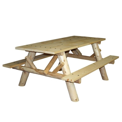 Eat outside with our 6' log picnic table