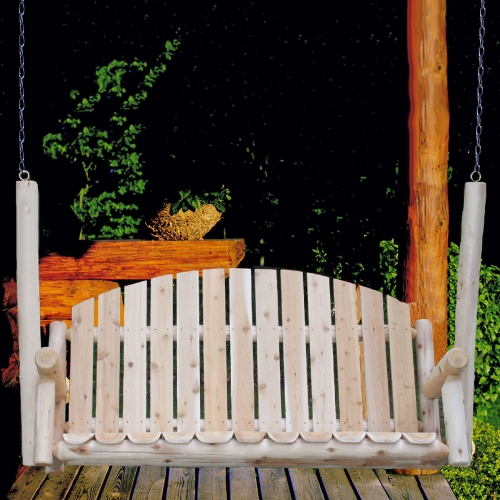 Ready to relax in a Cedar Log 5ft Country Garden Porch Swing
