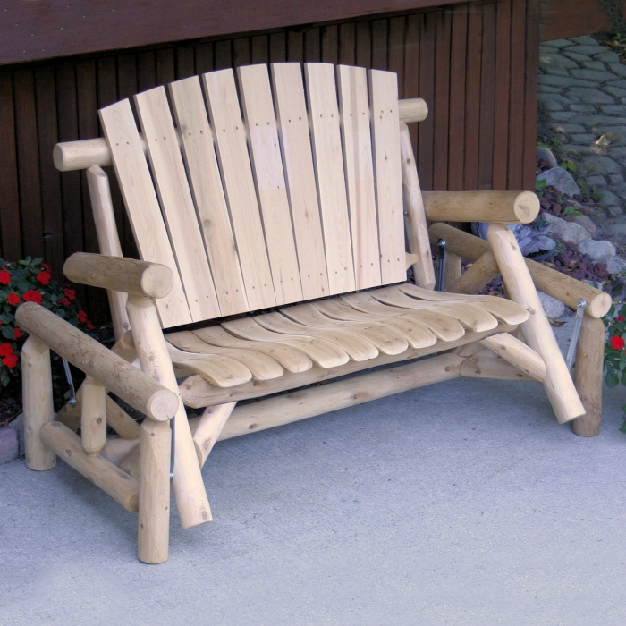 Take a seat on this double glider and relax from your porch.