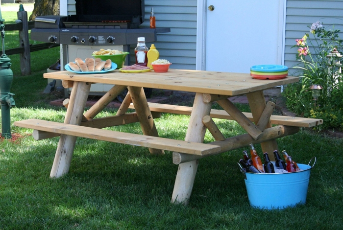 Dine outside with our 6' log picnic table