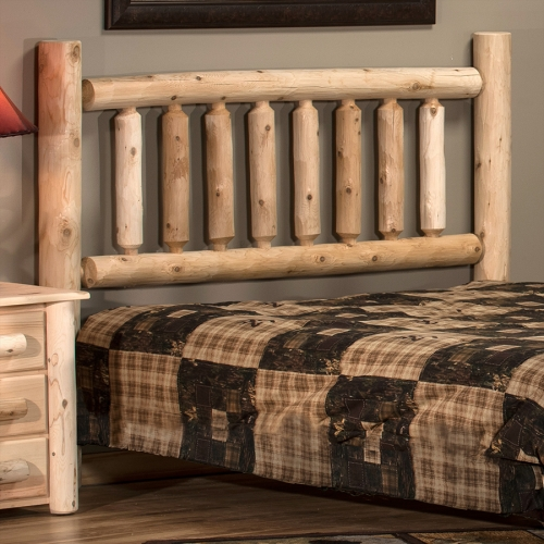 Durable and rustic cedar log headboard