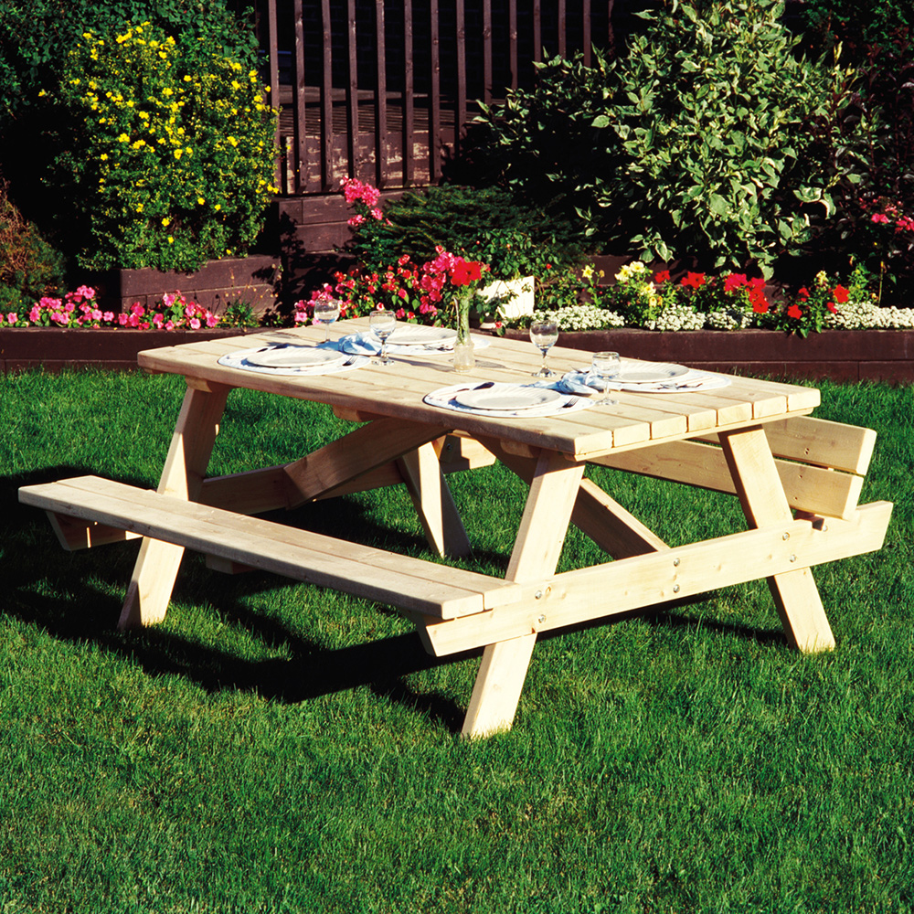 Brilliant Cedar Looks Square Picnic Table W Folded Up Benches Onthecornerstone Fun Painted Chair Ideas Images Onthecornerstoneorg