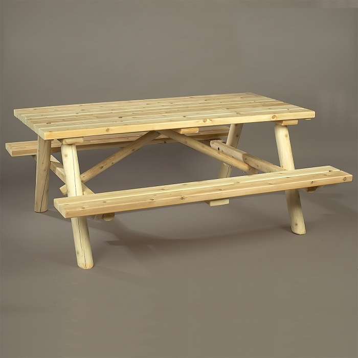 Eat outside with our cedar log picnic table